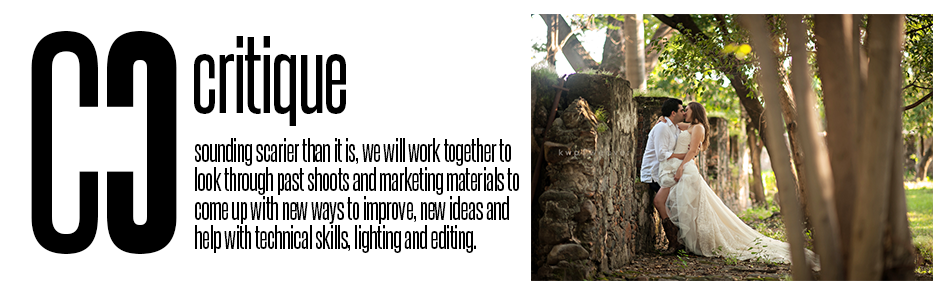 Critique: sounding scarier than it is, we will work together to look through past shoots and marketing materials to come up with new ways to improve, new ideas and help with technical skills, lighting and editing
