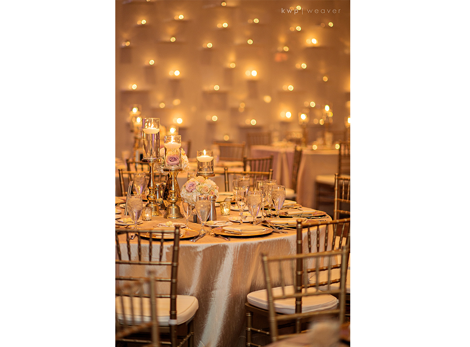 candle lit wall wedding