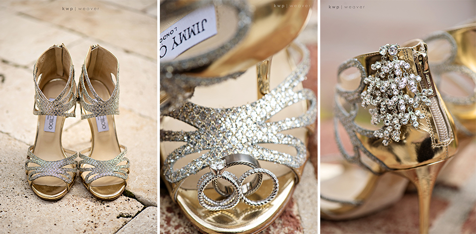 Gold and silver wedding shoes