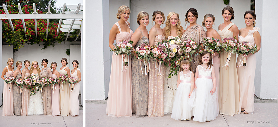 Mix-match bridesmaid gowns