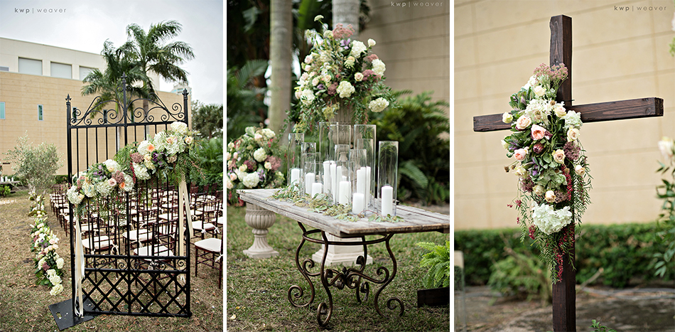 Ceremony gates, candle table and cross altar