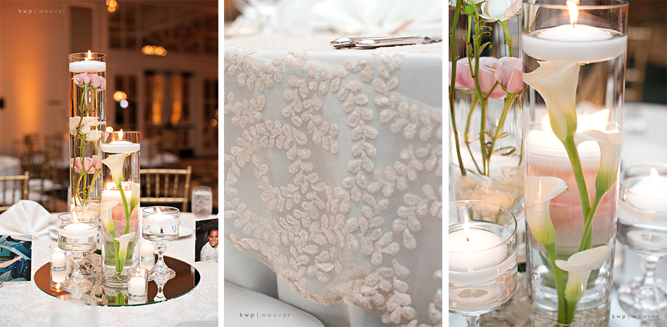 Reception centerpieces and tablecloth