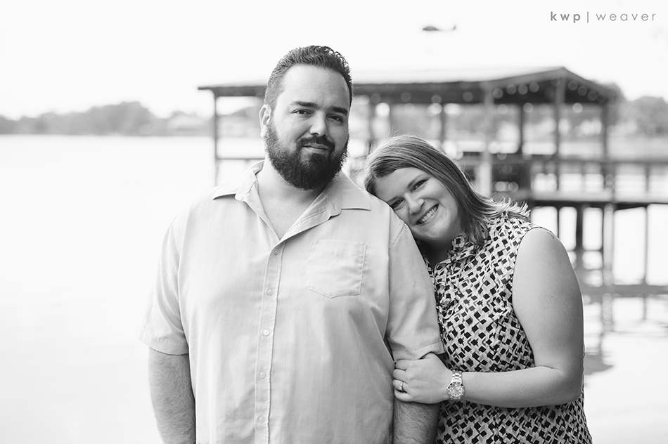 black and white lake engagement session