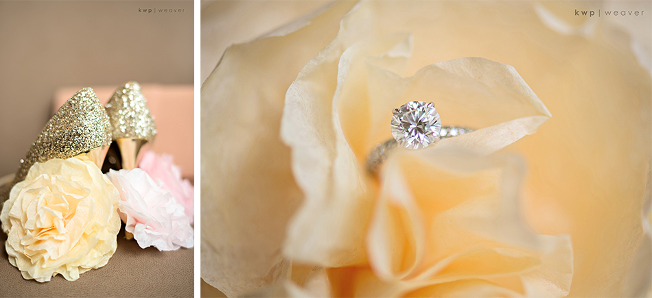 Diamond engagement ring and coffee filter flowers
