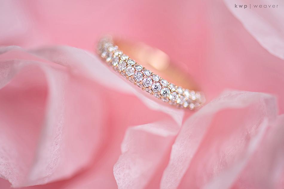 Diamond and rose gold eternity wedding band