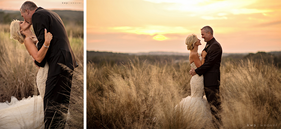 Gey Wedding in the sunset fields at Bella Collina
