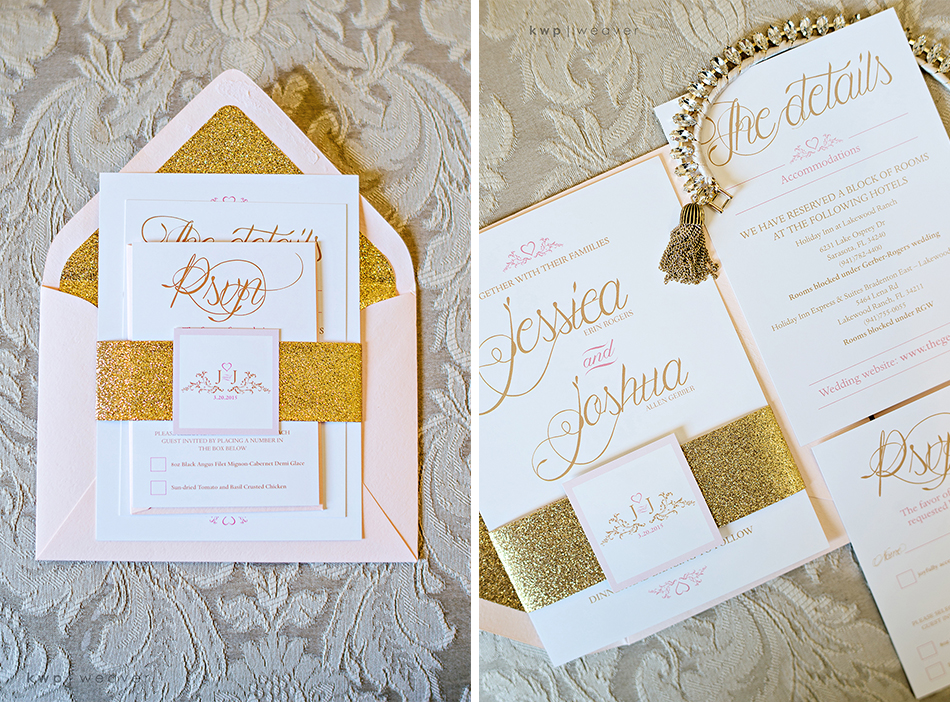 gold wedding invitation suite