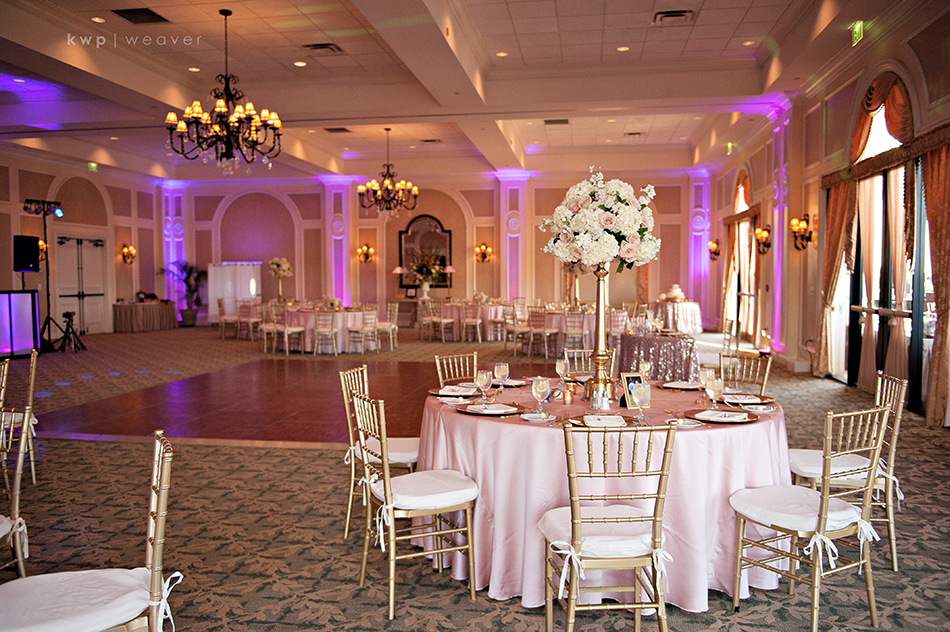 pink and gold ballroom reception