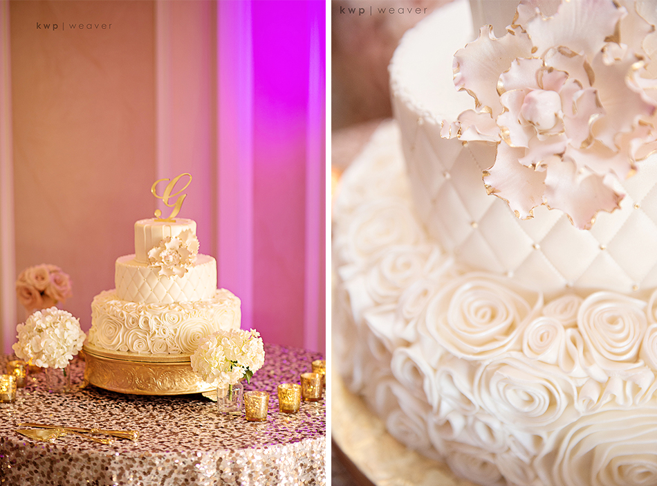white wedding cake with gold cake topper