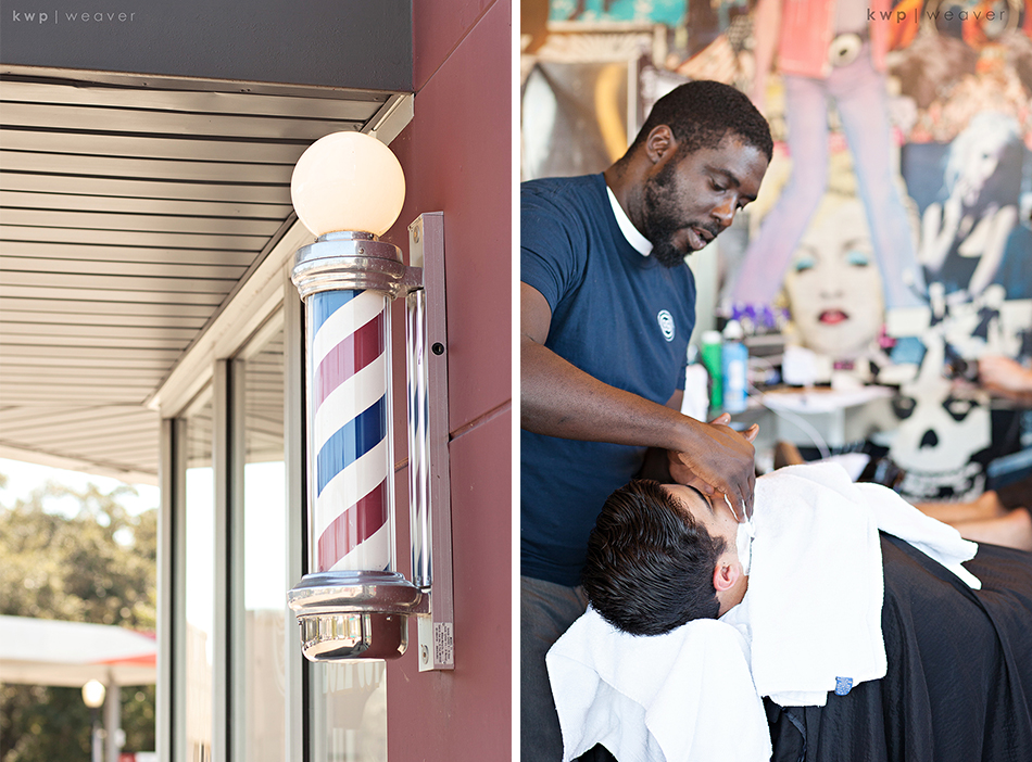Barbershop groom getting ready