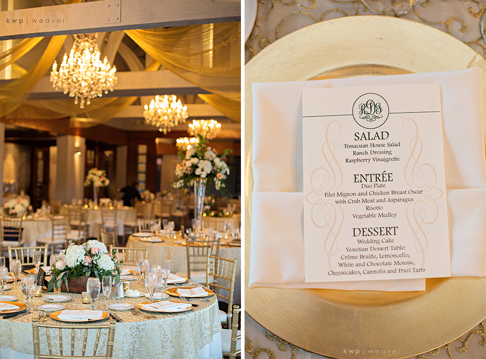 gold, pink and white reception