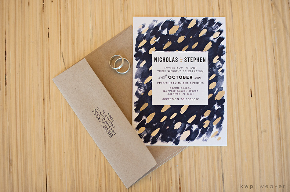 Navy wedding invitation