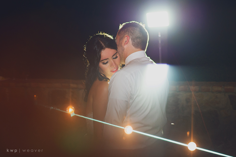 Night time bride and groom