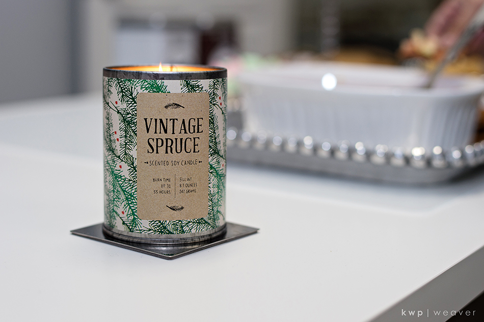 vintage spruce holiday candle from target