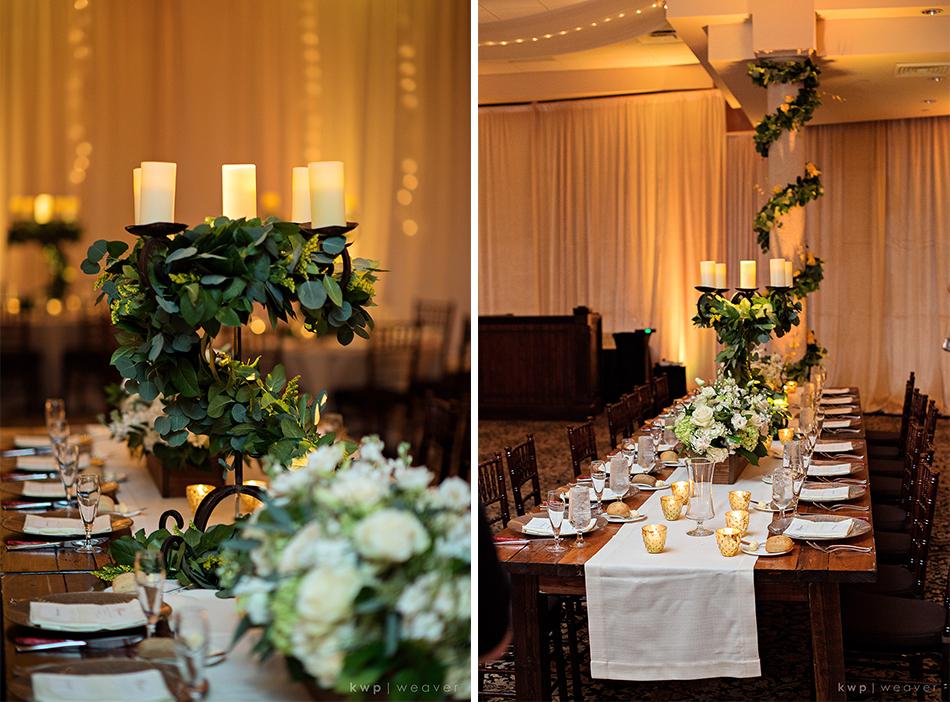 gold greenery reception