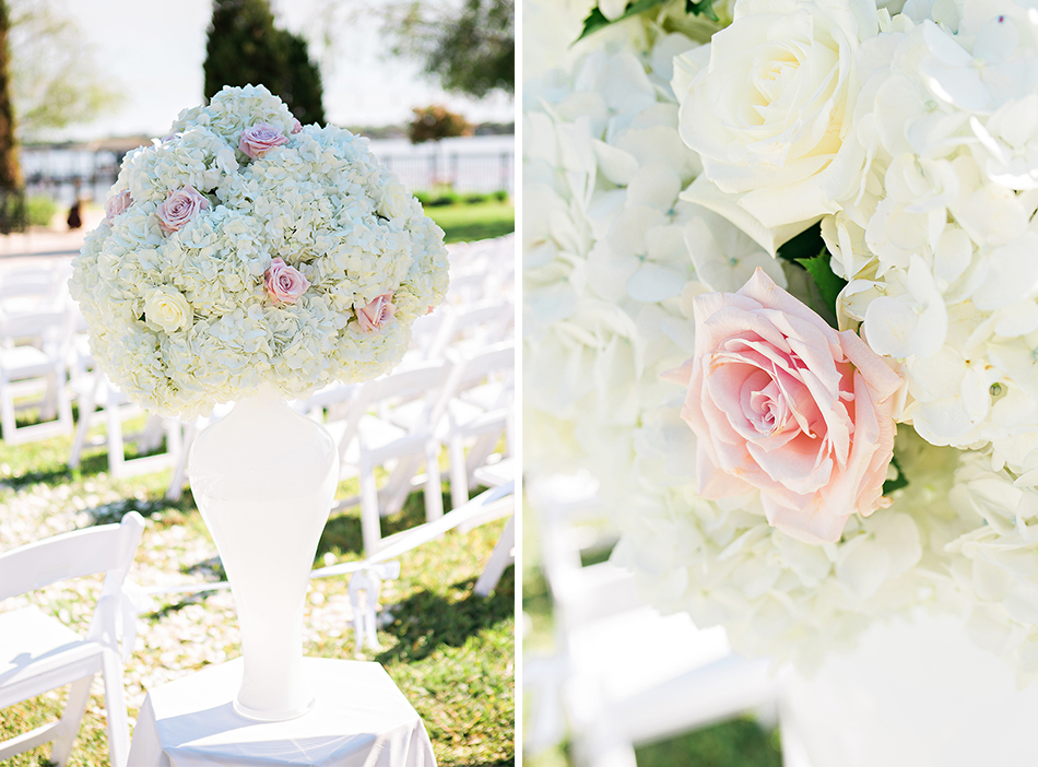 pink and white wedding floral