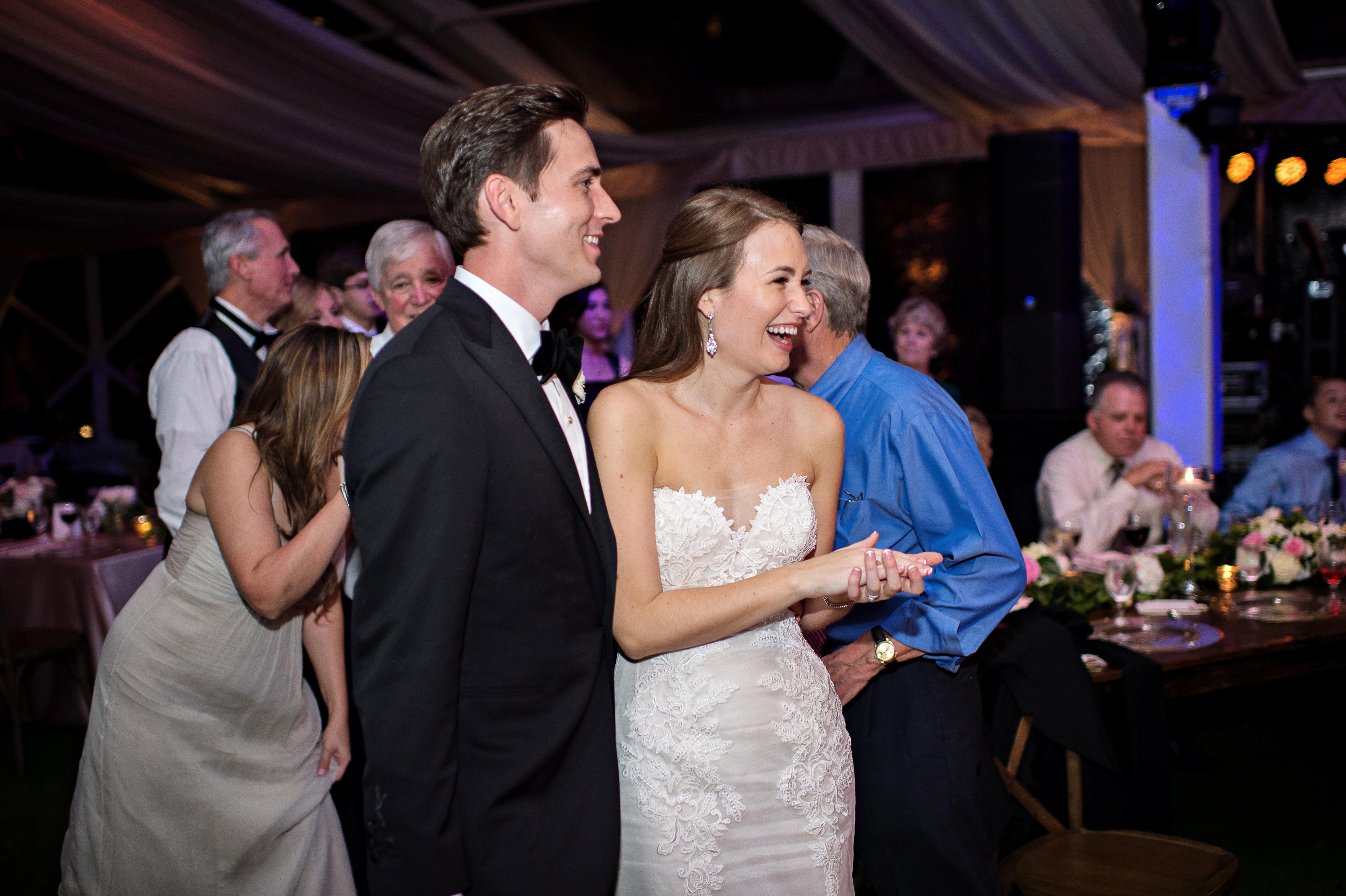 wedding reception laughs