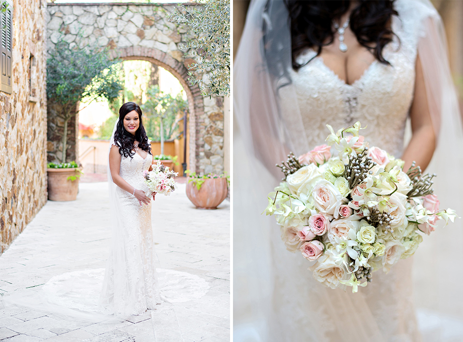 bella collina wedding pink and white bouquet