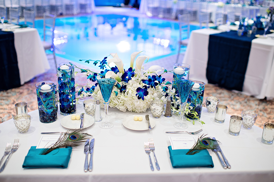 bride and groom table details
