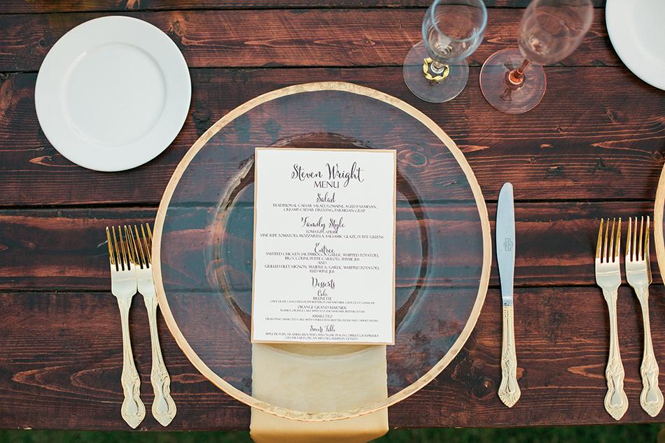 wedding dishware menu