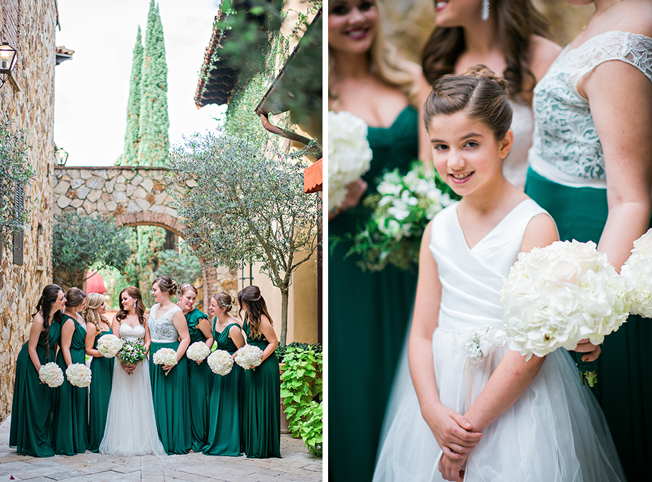 green and white bridesmaid gowns