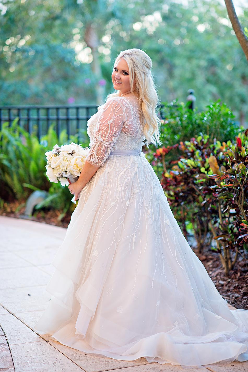 all white bride portrait