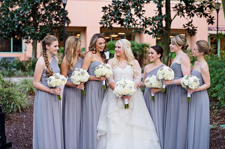 white and purple bridesmaids