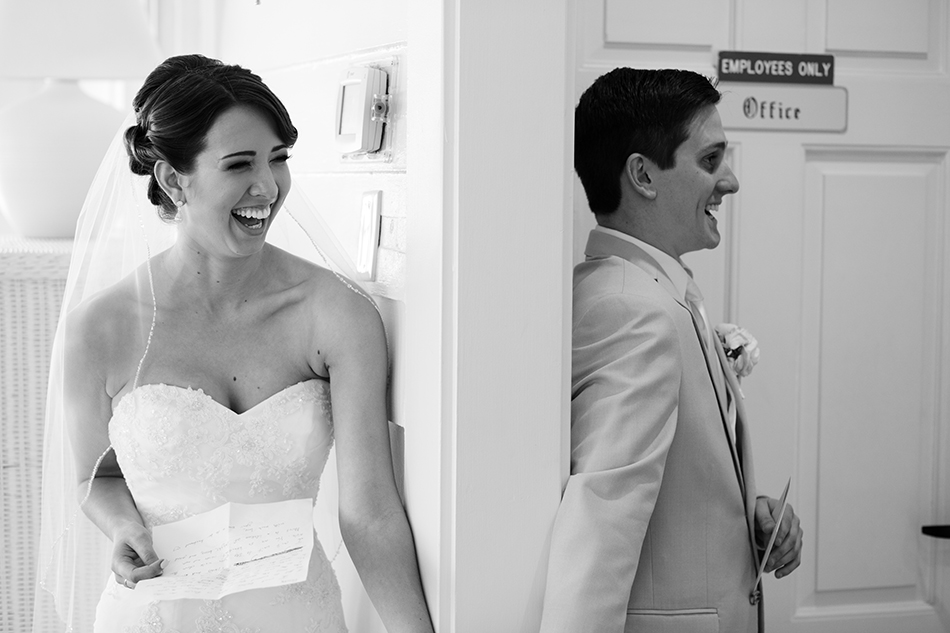 bride and groom first touch