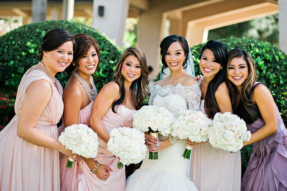 pink and blush bridesmaid dresses