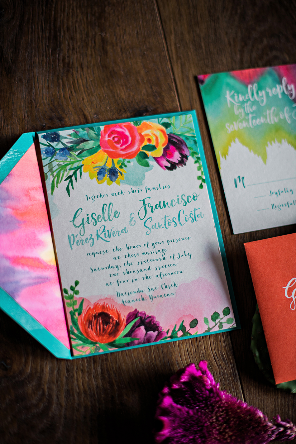 colorful wedding stationery floral