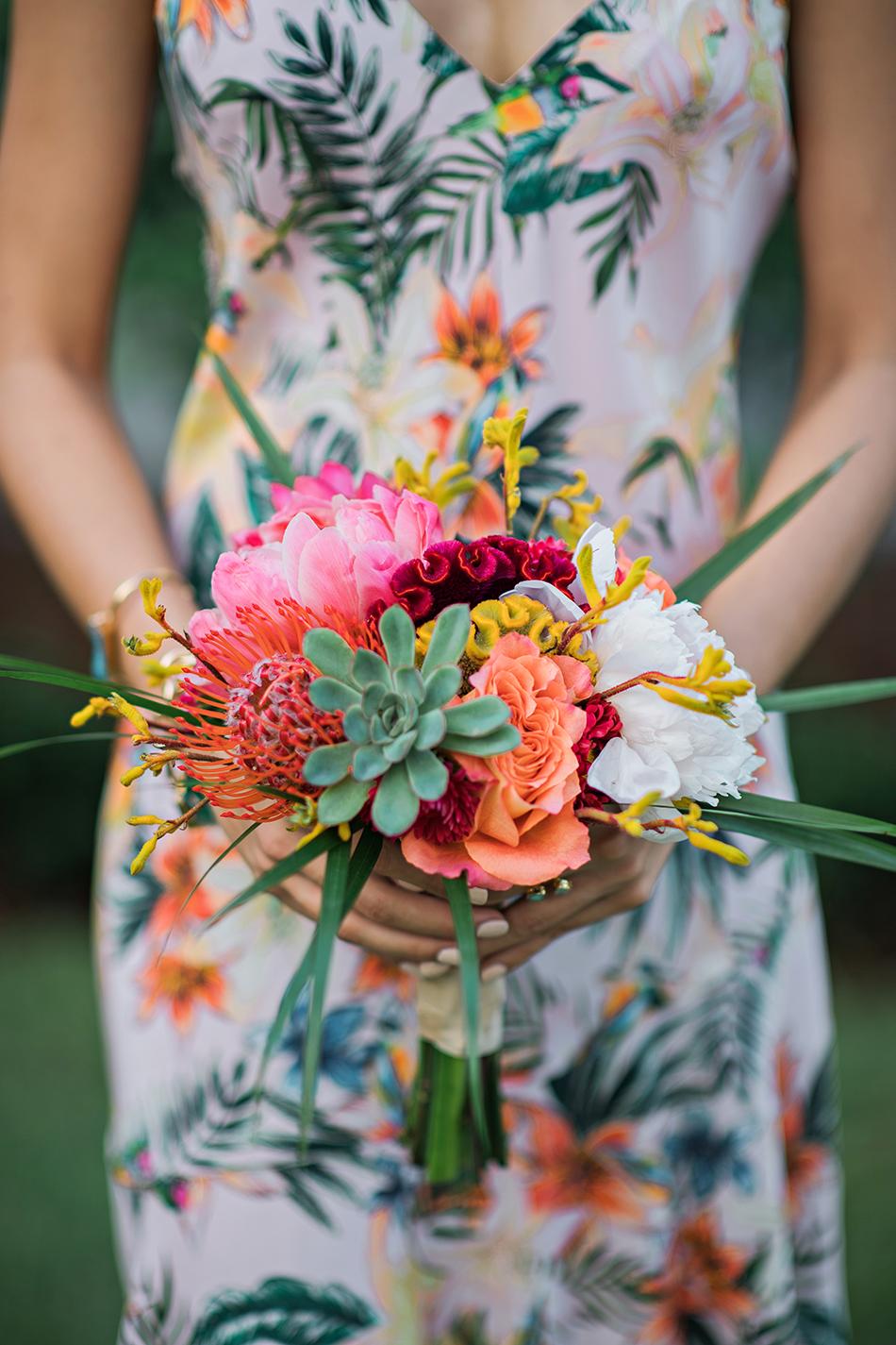 colorful destination wedding bouquet
