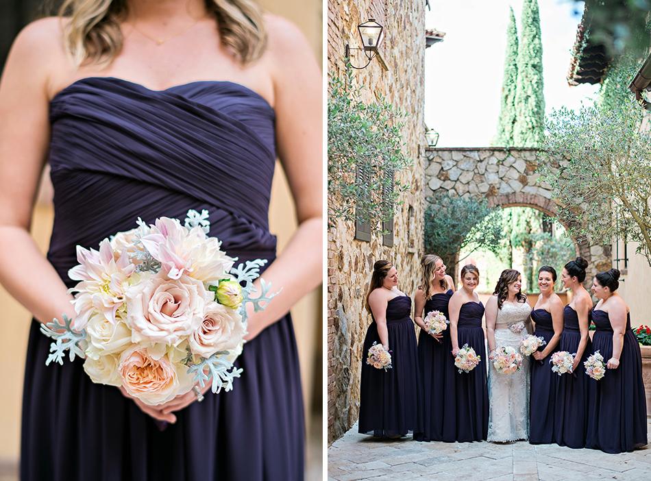 deep purple bridesmaid gowns