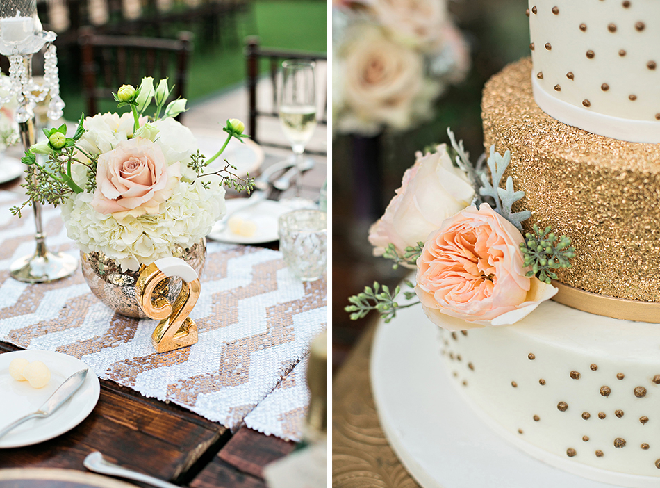 gold and pastel pink reception details
