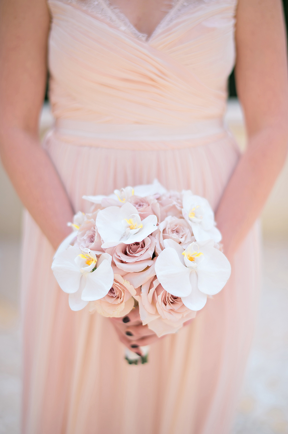 pretty light pink bridesmaid gown