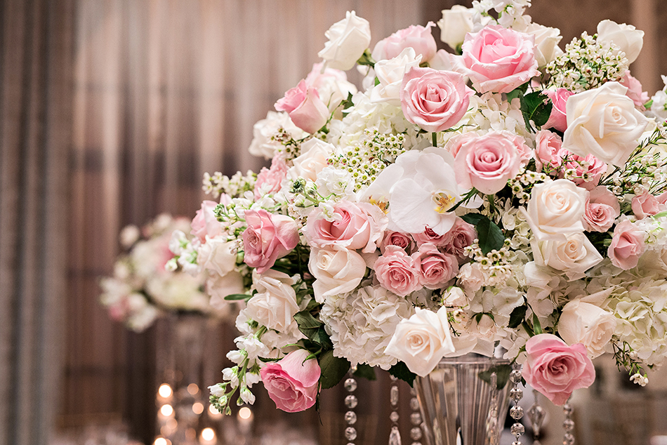 gorgeous pink rose wedding centerpiece