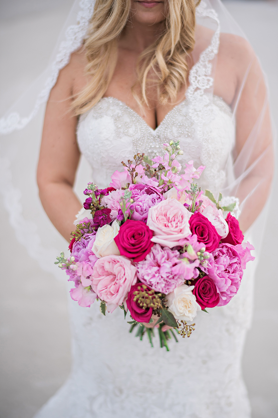 lush pink and white bouquet