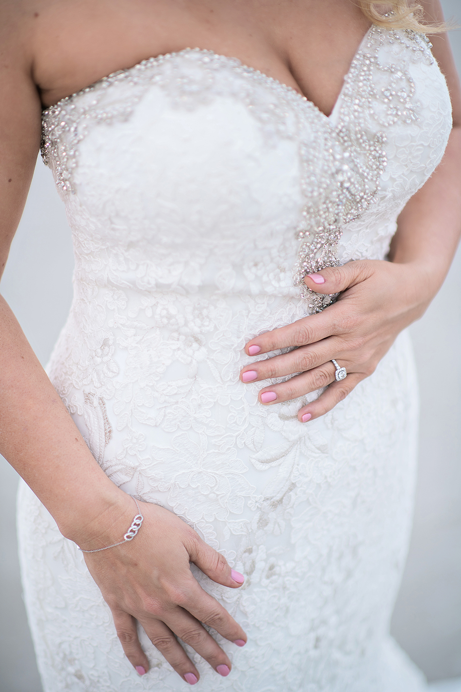 glamorous wedding gown details