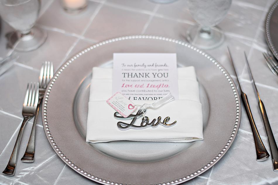 silver wedding reception table