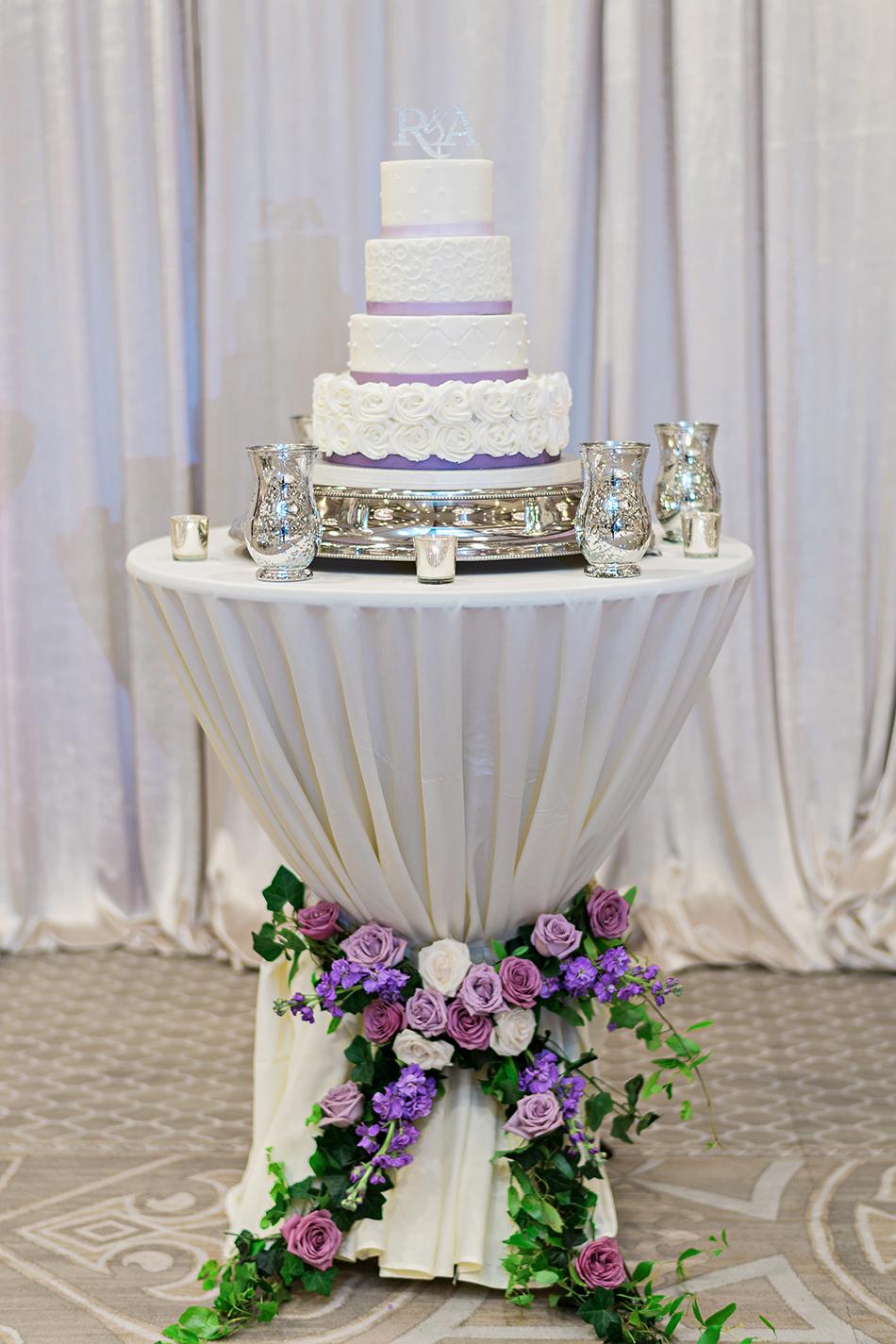 purple silver and white reception