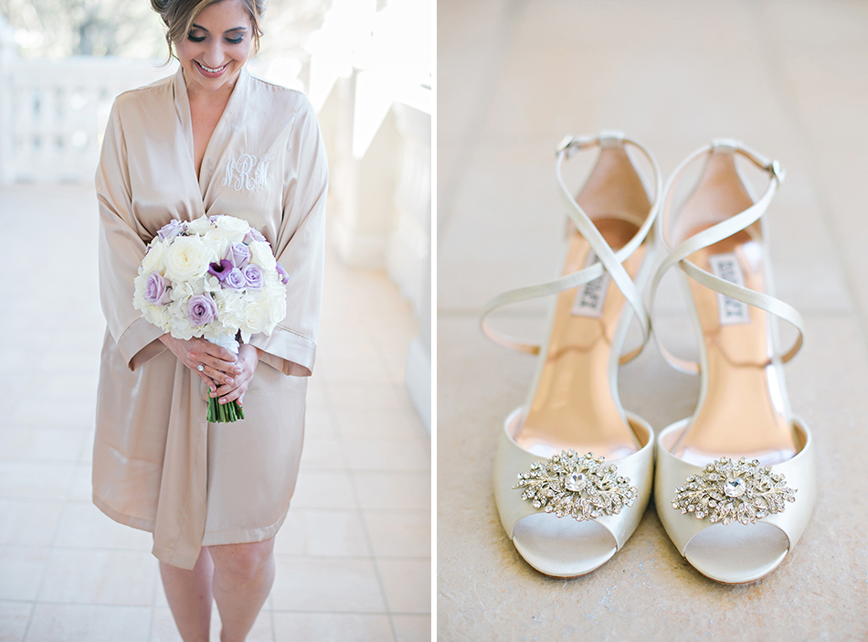 champagne and purple bridal details