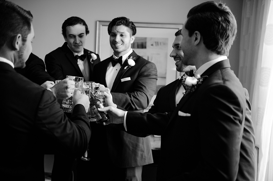 groomsmen getting ready toast