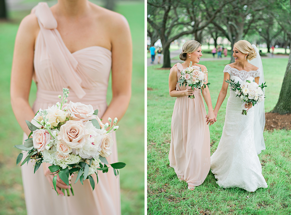 maid of honor blush gown