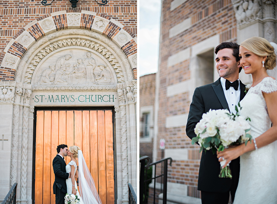 bride and groom church portraits