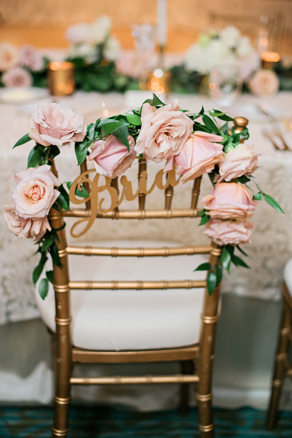 rose wedding chair back