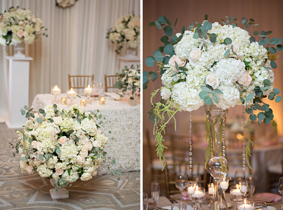 Lush floral design for a ballroom reception