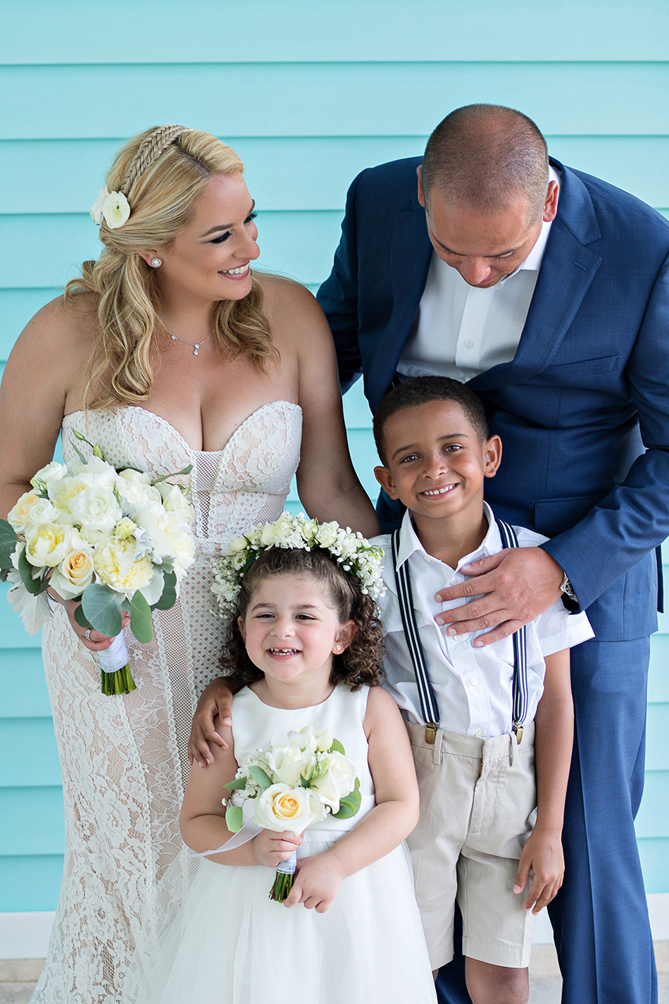 Blended family wedding photography