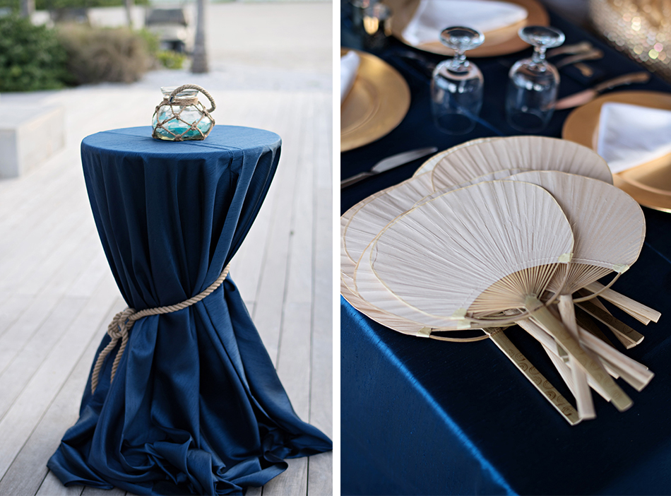 Nautical navy wedding details - reception space