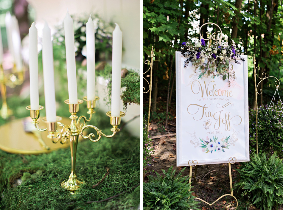 welcome sign for wedding in the woods