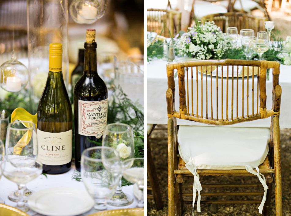 Vineyard wedding reception details