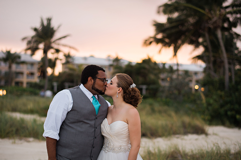 Sunset bride and groom photos in the bahamas